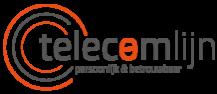 Logo Telecomlijn met grijs en oranje kleuren